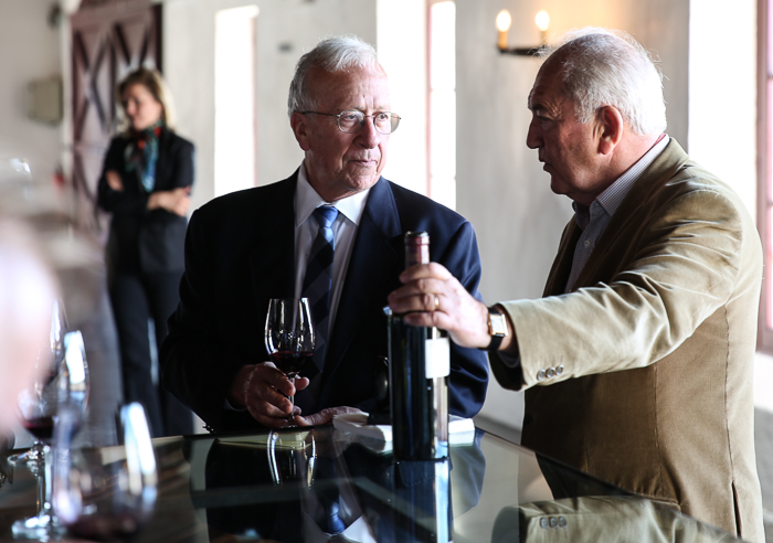K&L owner Clyde Beffa Jr. with Alfred Tesseron at the château in 2016