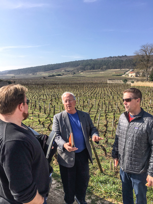 The K&L Burgundy team standing in a Corton vineyard
