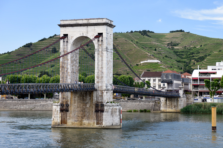 The hill of Hermitage and iconic town footbridge