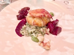 Butter poached Maine lobster with Hobbs bacon, beets, tarragon crème fraîche