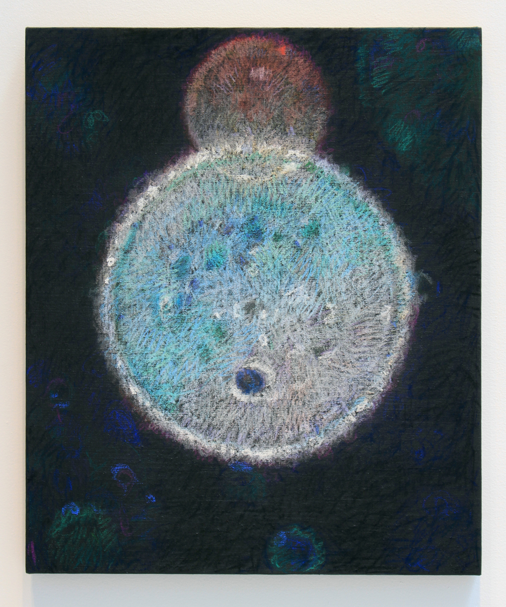 "Twin Orb, pastel on linen 2016 24""X20"""