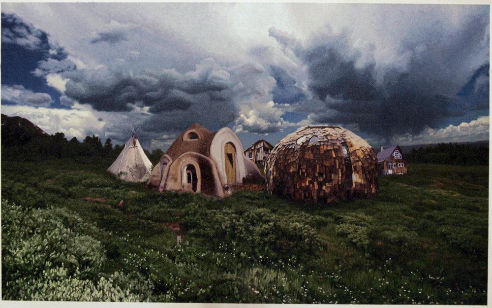 """Village, oil on linen, 20""""X 30"""" 2009"""