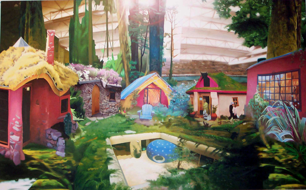 "Indoor Urban Eco Village, oil on canvas, 62""X 100"" 2004"