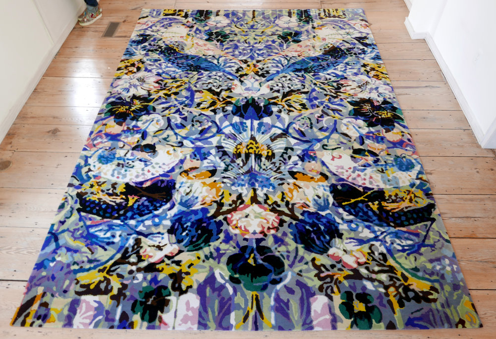 "Perception + Decoration, hand-knotted wool rug 88""x108"" 2017 in collaboration with Equator Productions"