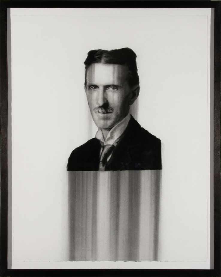 "Tesla, charcoal on paper, 28""X22"" 2013"
