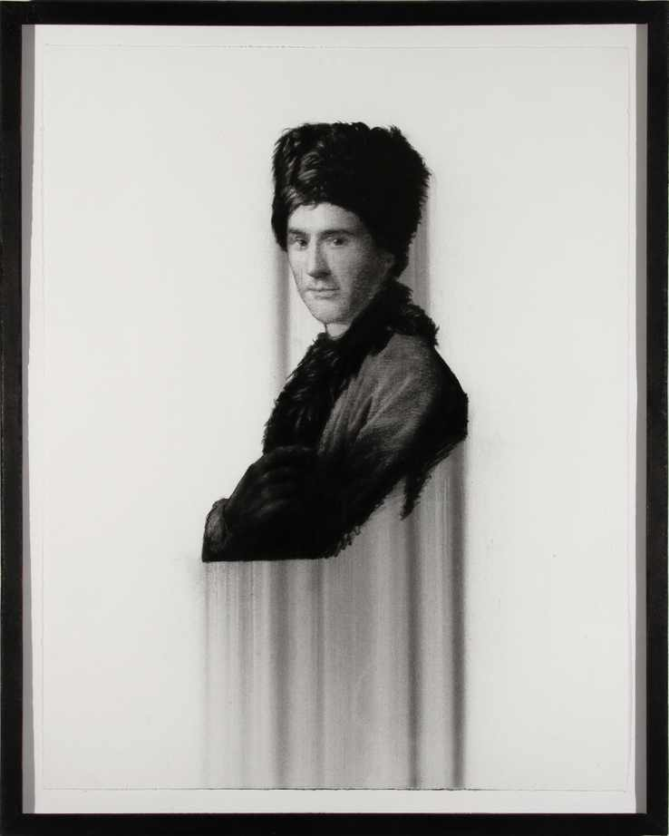 """Rousseau, charcoal on paper, 28""""X22"""" 2013"""