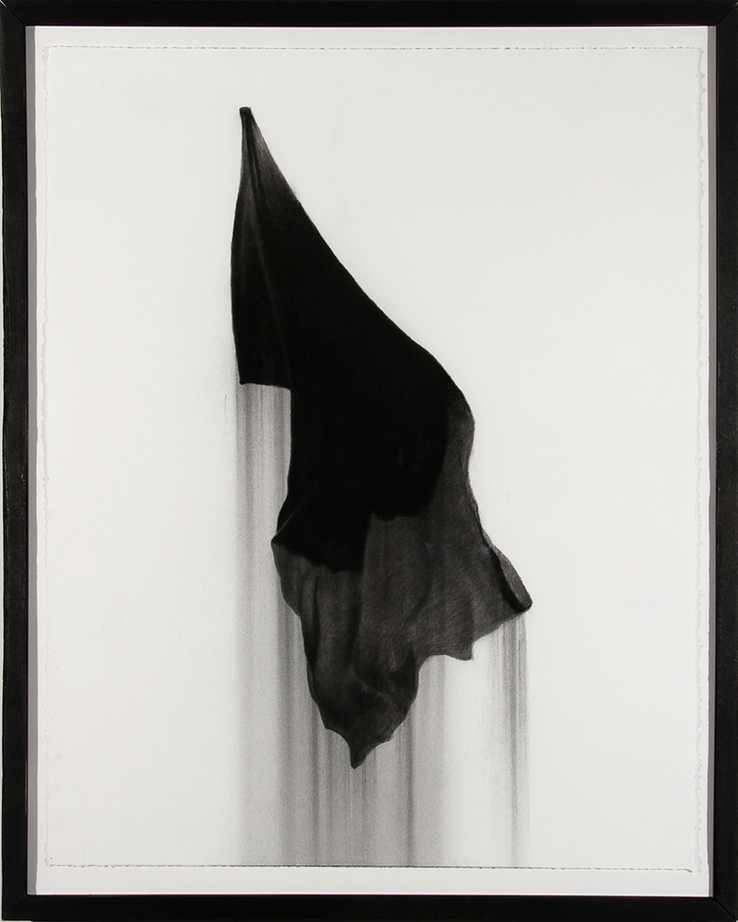 "Black Flag, charcoal on paper, 28""X22"" 2013"