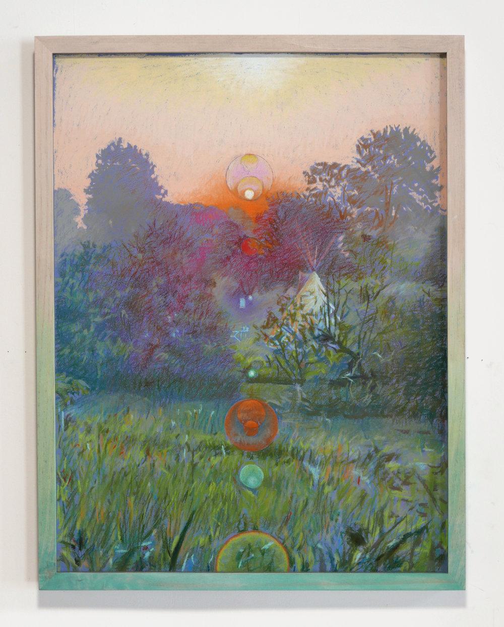 "Morning Dew Orange, pastel on paper hand dyed wood frame, 25"" X 19"" 2019"