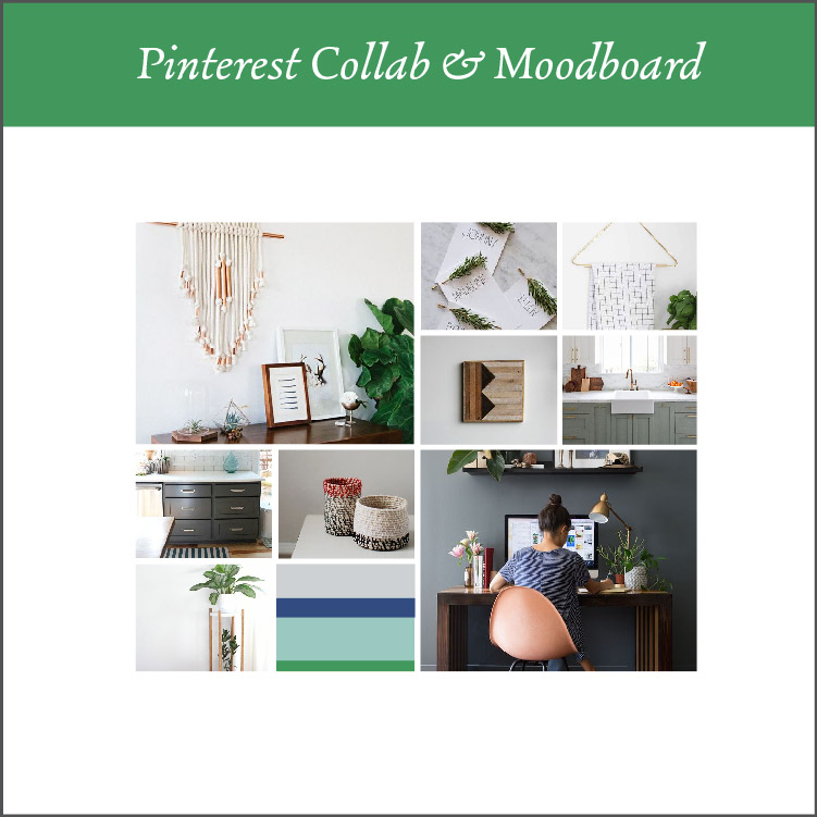 Pinterest Collaboration + Moodboard - Think of this part as the rough draft of your brand.We will make sure that we are on the same page before we start the logo design process by collaborating on a Pinterest board where we pin the looks and feels and inspirations of your brand.(Never used Pinterest for this before? Don't worry. I give you a training video for exactly how and what to pin.) From the pins, I create a mood board for your brand.