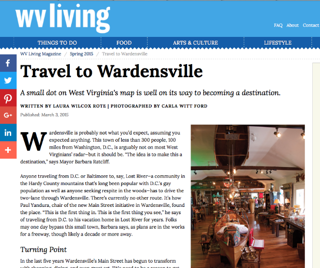 WARDENSVILLE IS WELL ON ITS WAY. CLICK THROUGH FOR FULL ARTICLE. IMAGE: WV LIVING