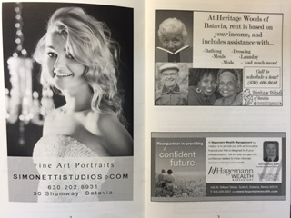 Examples of a Full Page Ad, 1/2 Page Ad and a Business Card Size Ad in the House Walk Booklet.