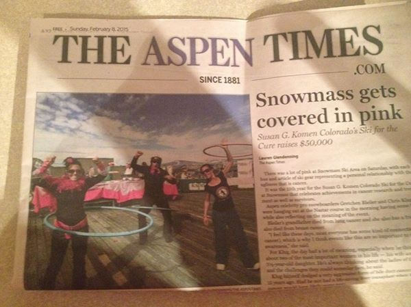 Aspen Times features a Betty Hoops fundraising event on the front page