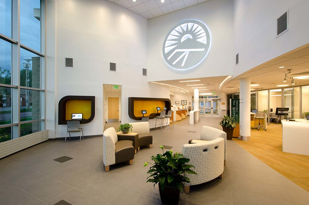 New England Federal Credit Union Shelburne road interior-customer lounge and logo.jpg