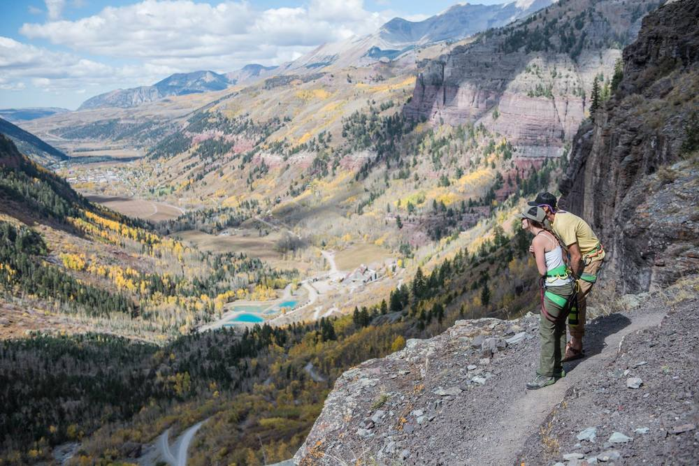 Stretch and I checking out the climbers across the valley.Photo by Max Holmes