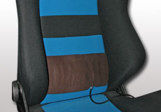 Two-way lumbar support invisibly mounts between the seat cover and the foam unit