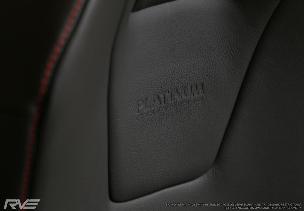 Holden Colorado, Upgraded leather, Tombstone, Platinum Logo Close up