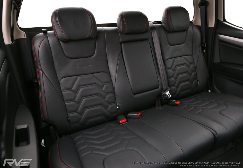 Holden Colorado, Rear leather seats, Armour inserts, Red Stitching