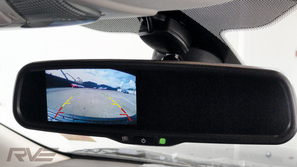 Reverse camera mirror with guidance lines.