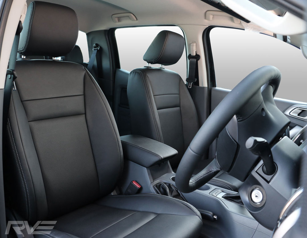 Mazda BT-50 - Standard leather front seats with perforated inserts and silver stitching.