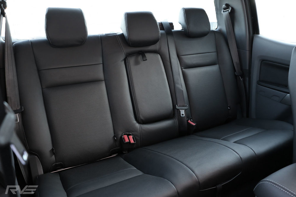 Mazda BT-50 - Standard leather rear seats with perforated inserts and silver stitching.