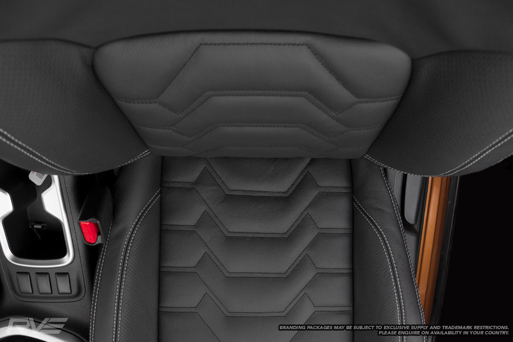 Upgraded Tombstone seats in black leather, perforated inner bolsters, silver stitching and black Armour inserts.