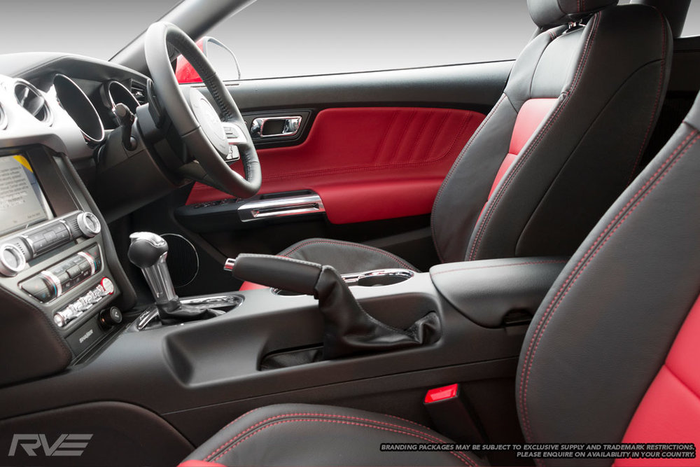 Ford Mustang Shelby Super Snake standard interior in black leather, red inserts, red stitching and white embroidered logos