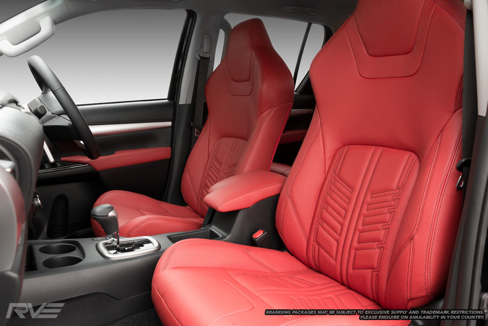 Gladiator Interior - Upgraded tombstone seats in red leather with black stitching, 'Gladiator' inserts and perforated inner bolsters.