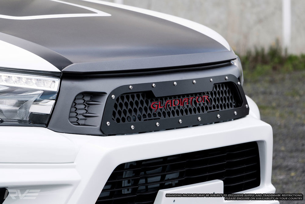 Gladiator Stage 2 front grille, bonnet lip and bonnet decal.