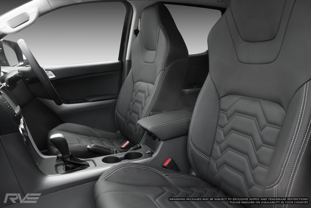 Upgraded tombstone seats in black leather with silver stitching and black stitched Armour inserts.