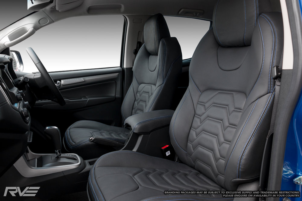 Upgraded Sports seats in black leather with blue stitching and black stitched Armour inserts.