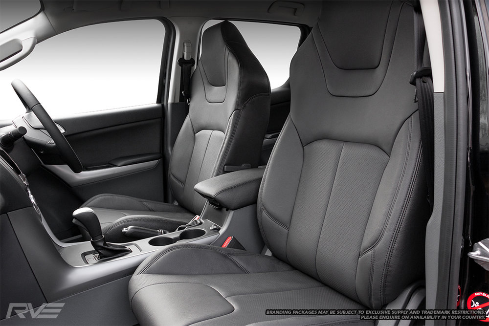 Upgraded tombstone sport seats in black leather with black stitching and perforated inserts.