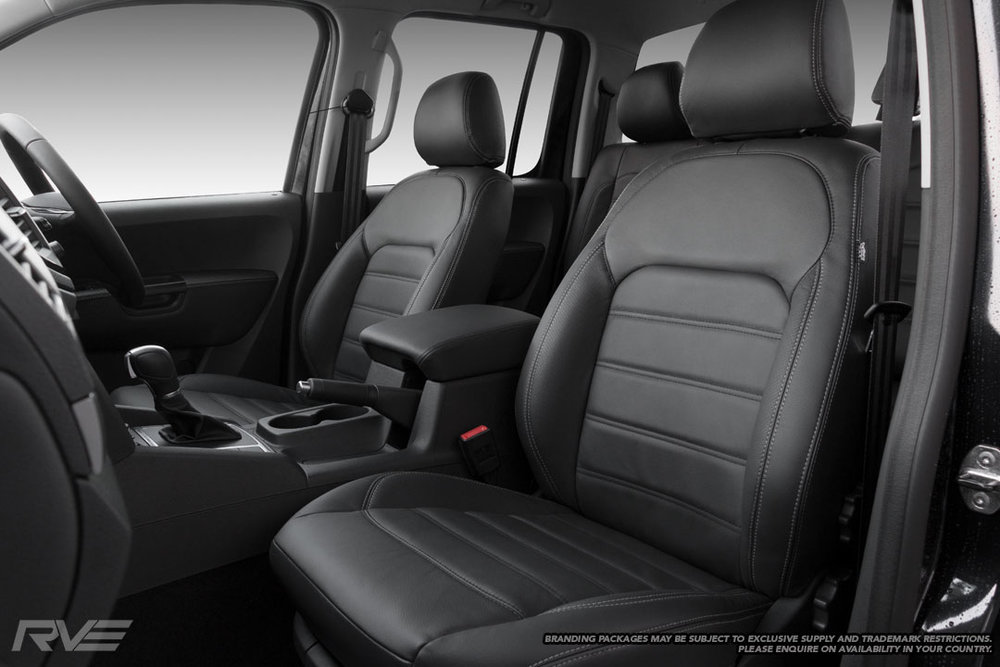 VW Amarok 'Aventura' look-a-like seats in black leather with black-stitched inserts, silver stitching and perforated inner bolsters.