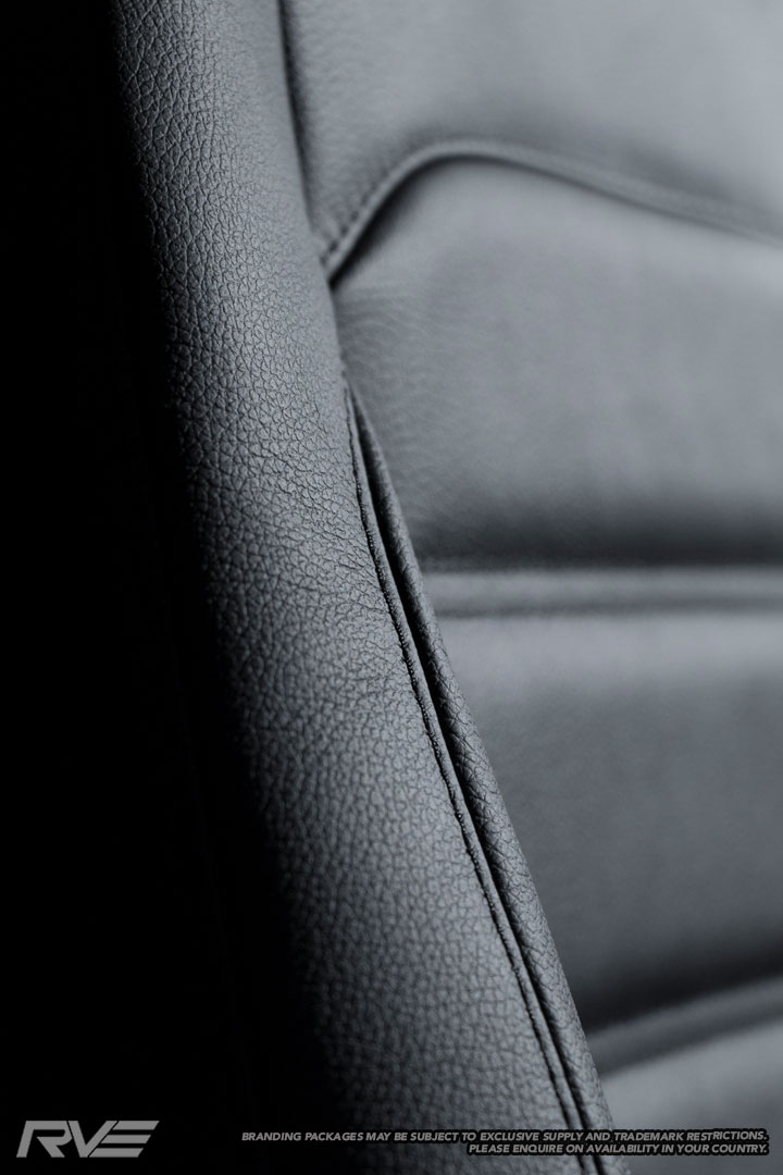 VW Amarok standard seats in black leather with black stitching.