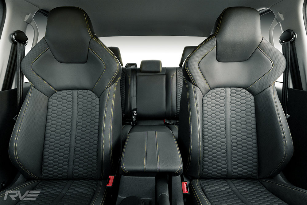 2018 VW Amarok with upgraded 'Adventura' style Tombstone sport seats in black leather with black stitched honeycomb inserts, perforated inner bolsters and yellow stitching.
