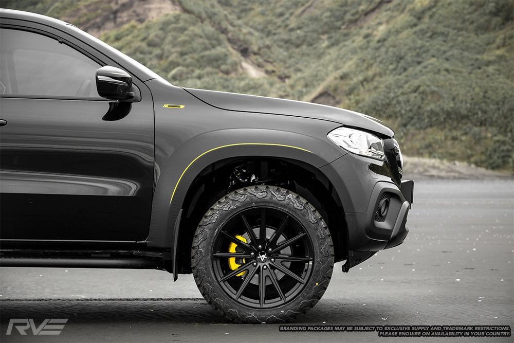 """20"""" Intrepid wheels in gloss black with Black Bear A/T tyres and yellow painted brake calipers"""