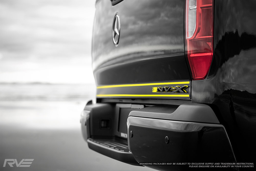 Carbon fibre look decal with yellow highlights and NV-X badge