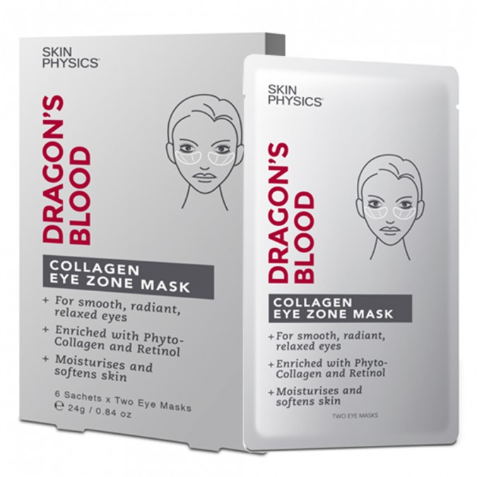 Skin Physics - Dragon's Blood Collagen Eye Zone Mask $39.99The Hydro-Gel Eye Patches are formulated to provide a silky, rich moisturising feel and for effective delivery of actives over 15-20 minutes use. These eye patches contour the lower area of the eye to fully hydrate the skin to reduce under-eye wrinkles and soothe the sensitive skin area of the eye that if not managed, leads to dark circles and more eye wrinkles.