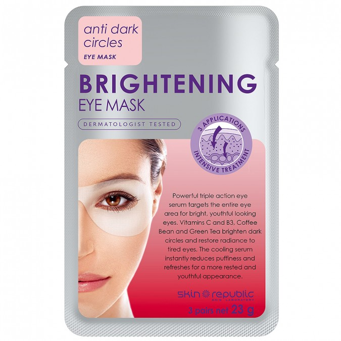 Skin Republic - Brightening Eye Mask $9.99Contains proven brightening ingredients Vitamin C, Niacinamide and Liquorice to effectively reduce the appearance of dark circles for a more refreshed, youthful appearance.