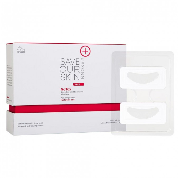 Save Our Skin - NoTox $99.99Innovative under-eye patch which smooths expression lines without needles by permeating the protective layer of the skin to deliver active ingredients including hyaluronic acid safely, effectively and painlessly. Hyaluronic acid and line-defying peptides work while you sleep, delivering visible improvement after just one use.