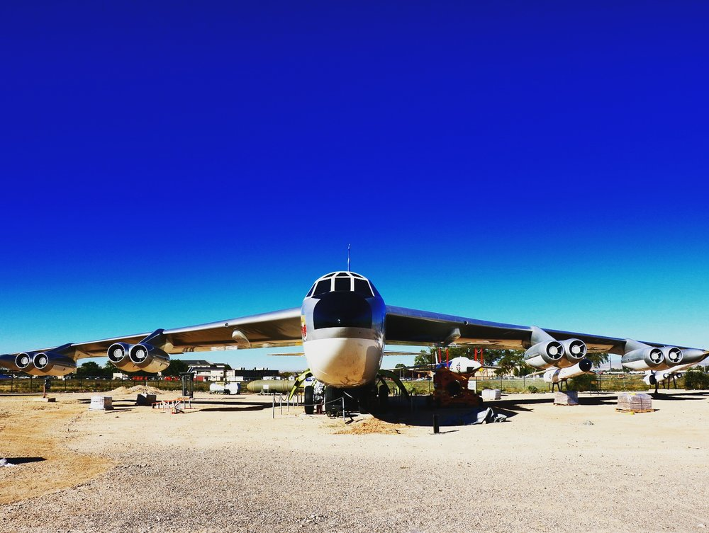 The refurbished B-52B Stratofortress, held at the museum's Heritage Park. This monstrous plane was a crucial element to America's Cold War defense plan.