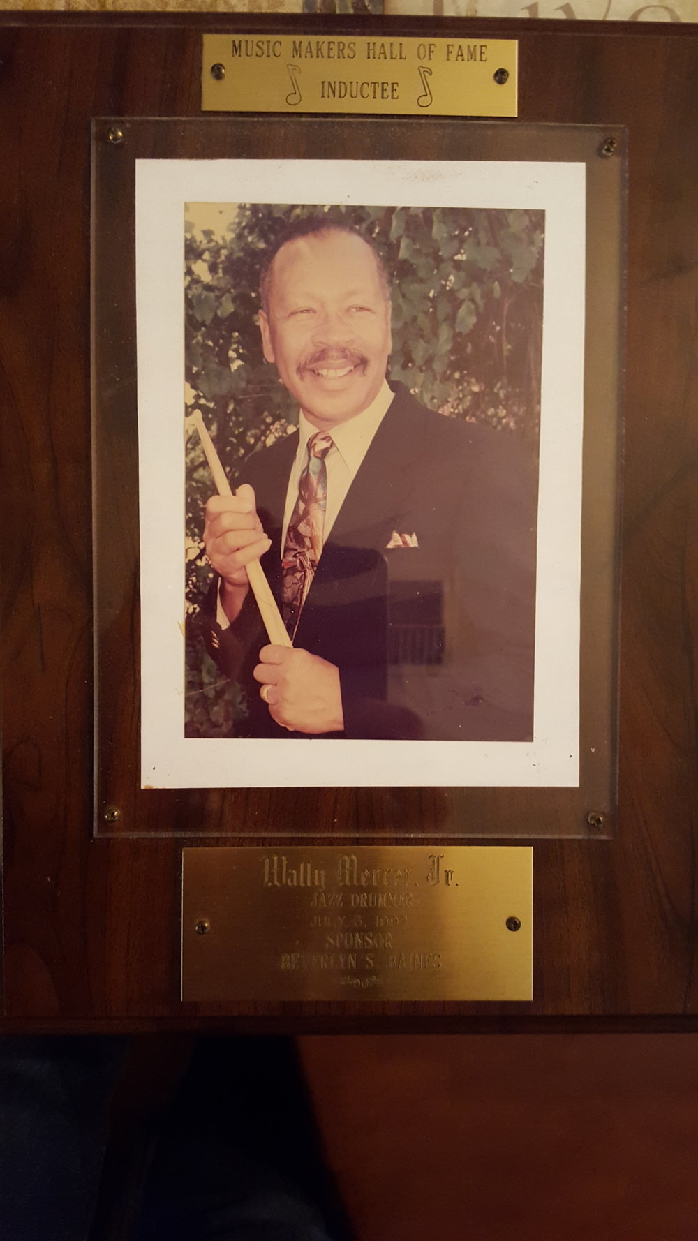 Wally Mercer Jr.'s Music Makers Hall of Fame Award.