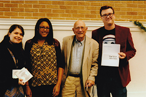 Presenting the book and collected oral histories to the president of the Pensacola Jazz Society.  L to R: Sarah Fugarino, Mariah Hills, Norman Vickers, Ian Hamilton