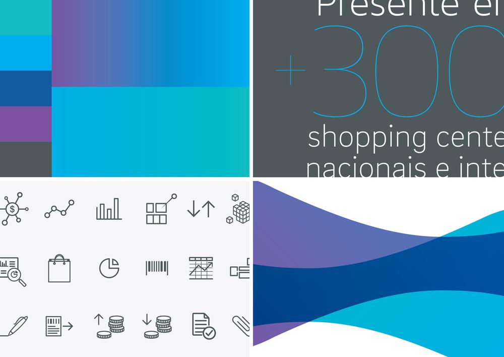 Paleta de cores, tipografia, iconografia e elementos gráficos de apoio