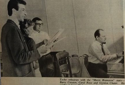 Tommy rehearsing with the cast of the  Mavis Bramston Show
