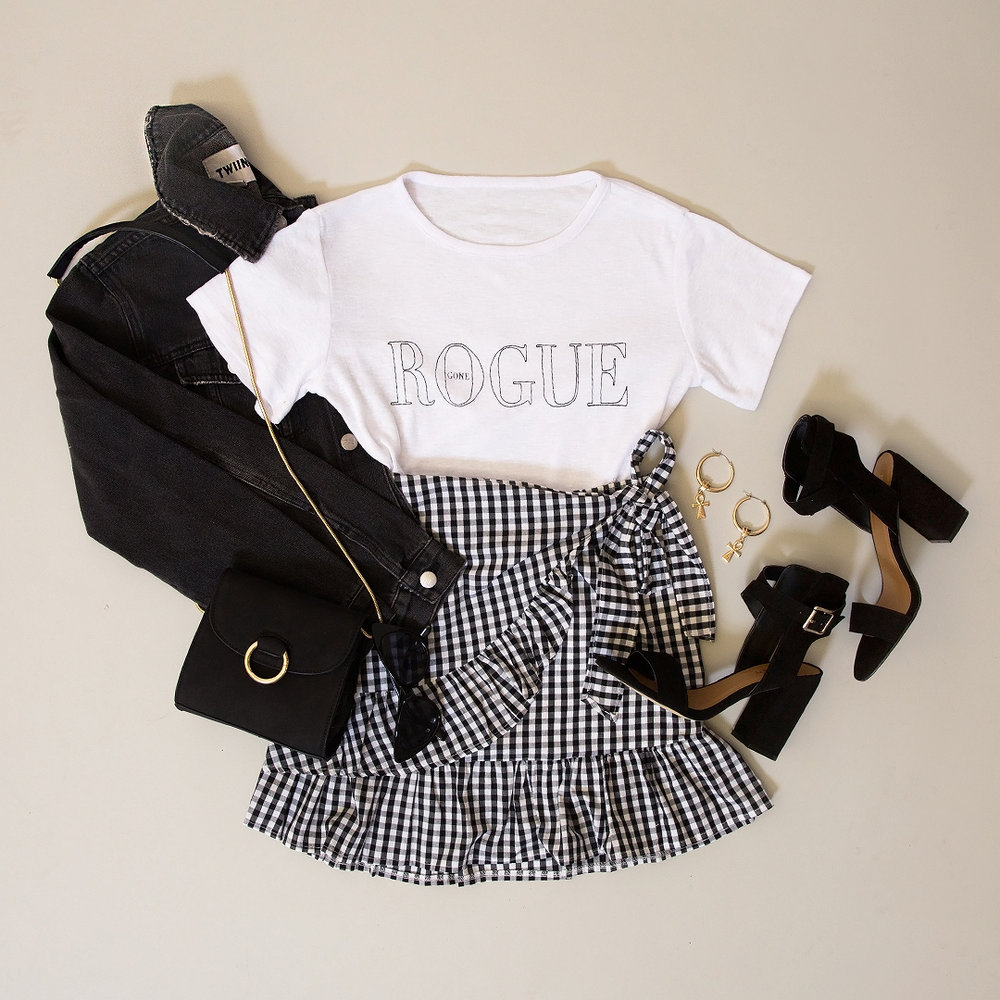 Overcast Cut Off Denim - washed black, Twiin_ ET1704005 - Awol Tee - Off White, 72687-6_ Nikola Skirt - Gingham, Collins Heel - Black Suede, add whatever accessories-2.jpg