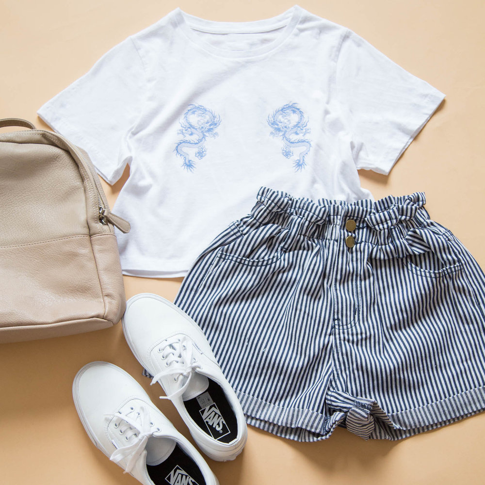 Kirk Shorts navy stripe, beyond her good luck dragon tee, old sku, albert cap, chloe bag beige 3.jpg