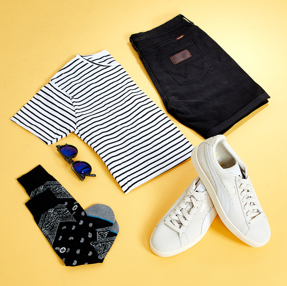 Stripes and Ripped Denim  - Keeping it simple with this Silent Tee paired with the Spencer Short and some Suede Classic Pumas Accessorize with the Teddy Boy Sunglasses - Black/Blue Revo and some Bandana Barrio Sock