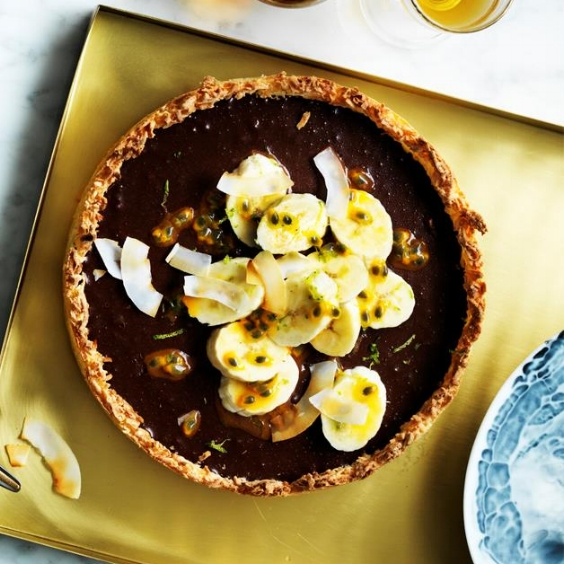 Chocolate Coconut Tart with Passionfruit and Banana, Emma Knowles and Lisa Featherby