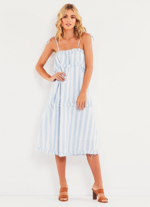 California Valley Dress - Blue Stripe