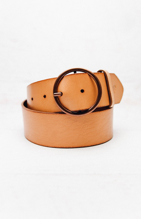 Round Buckle Belt - Tan